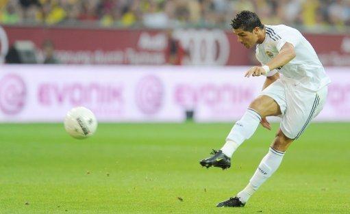 Real Madrid's Cristiano Ronaldo takes a free-kick
