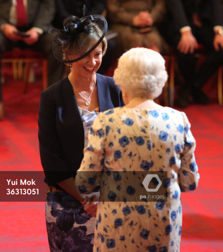 Former English cricketer Clare Connor from Hove is awarded an CBE (Commander of the Order of the British Empire) by Queen Elizabeth II during an investiture ceremony at Buckingham…