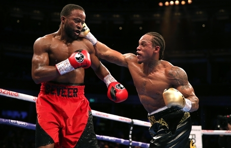 Anthony Yarde (right) and Travis Reeves during the WBO Intercontinental Light-Heavyweight Championship bout at the Royal Albert Hall, London.