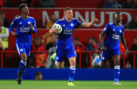 Leicester City's Jamie Vardy celebrates after scoring his sides first goal during the Premier League match at Old Trafford Stadium, Manchester. Picture date 10th August 2018.…