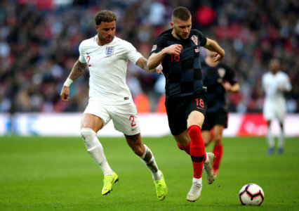 England's Kyle Walker (left) and Croatia's Ante Rebic (right) battle for the ball during the UEFA Nations League, Group A4 match at Wembley Stadium, London.