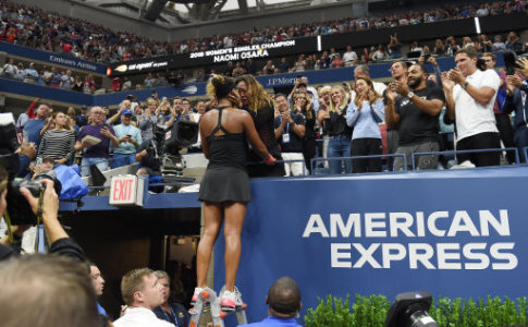 Naomi Osaka of Japan celebrates with her mother Tamaki Osaka after winning the women's singles final match of the US Open tennis tournament at Arthur Ashe Stadium, USTA Billie…