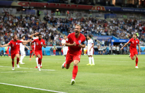 England's Harry Kane (centre) celebrates scoring his side's second goal of the game during the FIFA World Cup Group G match at The Volgograd Arena, Volgograd.