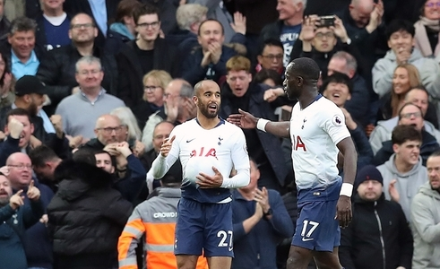 Tottenham Hotspur's Lucas Moura celebrates scoring his side's first goal of the game during the Premier League match at Anfield, Liverpool.