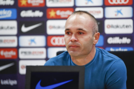 April 27, 2018 - Barcelona, Catalonia, Spain - April 27, 2018 - Ciutat Esportiva Joan Gamper, Barcelona, Spain - Andres Iniesta announces his departure from FC Barcelona at the…