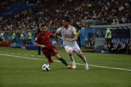 ISCO (Spanish) controls the ball Russia World Cup match between Portugal vs Spanish at the Olympic Stadium of Sochi stadium in Sochi, Russia, June 14, 2018.