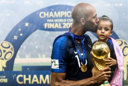 MOSCOW, RUSSIA - JULY 15, 2018: France's Steven Nzonzi with his daughter during an award ceremony after the 2018 FIFA World Cup Final match between France and Croatia at Luzhniki…