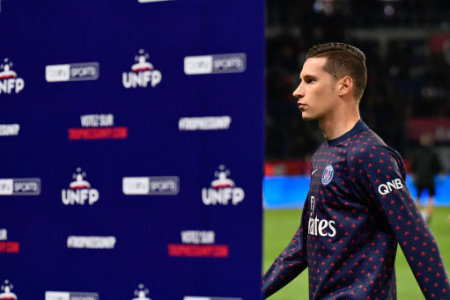 Julian Draxler during the french Ligue 1 match between Paris Saint-Germain (PSG) and Olympique Lyonnais (OL, Lyon) at Parc des Princes stadium on October 7, 2018 in Paris, France.…