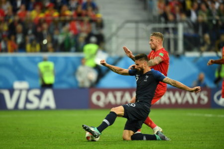 France�s Olivier Giroud during the 2018 FIFA World Cup semi-final match France v Belgium in St Petersburg, Russia, July 10, 2018. France won 1-0. Photo by Christian…