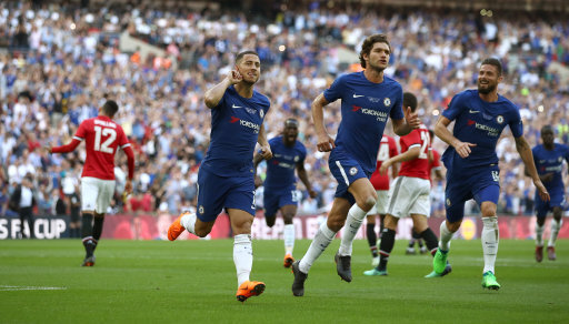 Chelsea's Eden Hazard celebrates scoring his side's first goal of the game from the penalty spot