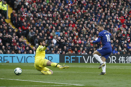 Eden Hazard of Chelsea hits the post beating Alisson Becker of Liverpoolduring the Premier League match at Anfield, Liverpool. Picture date: 14th April 2019. Picture credit should…