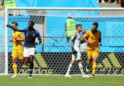 (180616) -- KAZAN, June 16, 2018 (Xinhua) -- Paul Pogba (2nd L) of France reacts during a group C match between France and Australia at the 2018 FIFA World Cup in Kazan, Russia,…