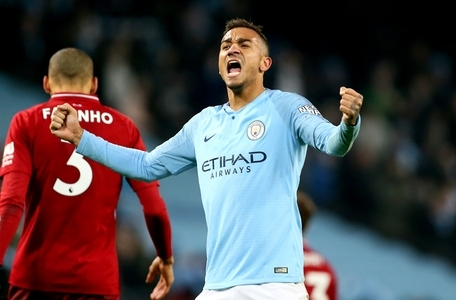 Manchester City's Danilo celebrates after the final whistle during the Premier League match at the Etihad Stadium, Manchester.