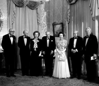 Prime Minister Margaret Thatcher Is Joined By Queen Elizabeth II And Five Former PMs At 10