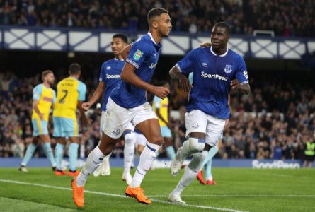 Everton's Dominic Calvert-Lewin (centre) celebrates scoring his side's second goal of the game with team-mate Kurt Zouma (right)