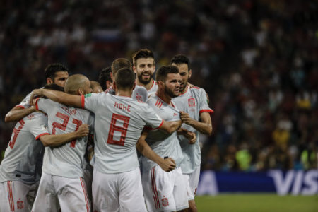 Nacho Fernandez (Spanish) celebrates his goal which made it (2,3) Russia World Cup match between Portugal vs Spanish at the Olympic Stadium of Sochi stadium in Sochi, Russia, June…