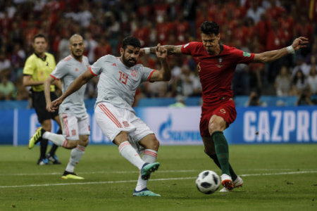 Diego Costa (Spanish) scores to make it (1,1) Russia World Cup match between Portugal vs Spanish at the Olympic Stadium of Sochi stadium in Sochi, Russia, June 14, 2018.