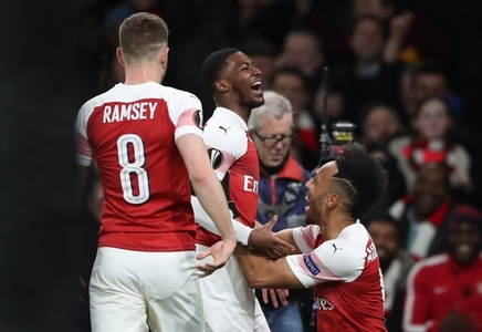 Arsenal's Ainsley Maitland-Niles celebrates scoring his side's second goal of the game during the Europa League match at the Emirates Stadium, London.
