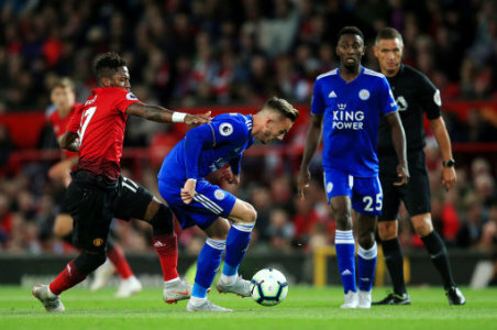 Leicester City's James Maddison takes on Manchester United's Fred during the Premier League match at Old Trafford Stadium, Manchester. Picture date 10th August 2018. Picture…