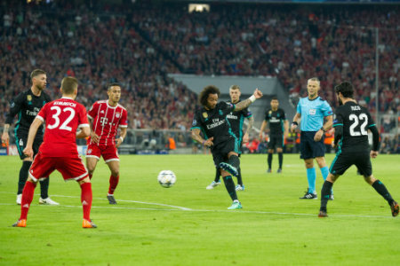 MARCELO (mi., REAL) scored the goal to make it 1-1 for Real Madrid, Action, Football Champions League, Semifinals, Bayern Munich (M) - Real Madrid (REAL) on 25.04.2018 at the…